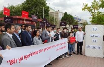 CHP'Lİ Gençler Yurt Sorununa Dikkat Çekmek İçin Yataklı Eylem Yaptı !…